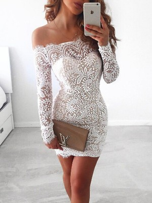White Lace Off-the-Shoulder Sheath/Column Short/Mini Dresses