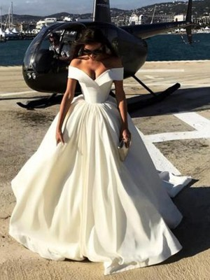 White Satin Off-the-Shoulder Ball Gown Sweep/Brush Train Wedding Dresses