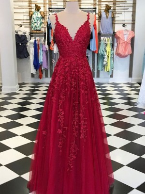 Red Tulle V-neck A-Line/Princess Floor-Length Dresses