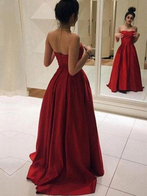 Red Satin Strapless A-Line/Princess Sweep/Brush Train Dresses
