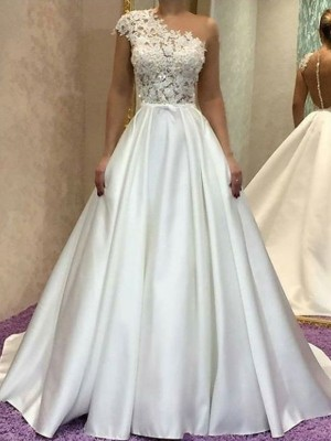 Ivory Satin One-Shoulder A-Line/Princess Sweep/Brush Train Wedding Dresses