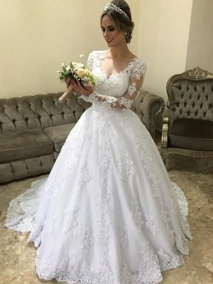 White Satin V-neck Ball Gown Sweep/Brush Train Wedding Dresses