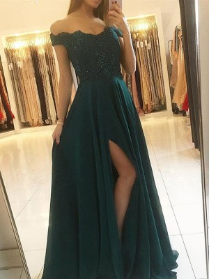Dark Navy Chiffon Off-the-Shoulder A-Line/Princess Floor-Length Dresses