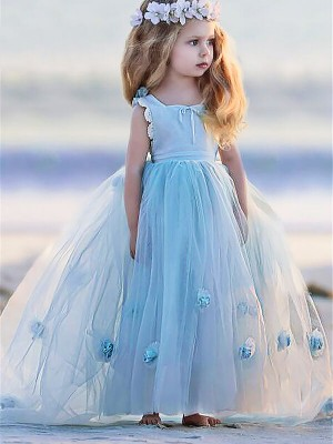 Light Sky Blue Tulle Bateau Ball Gown Floor-Length Flower Girl Dresses