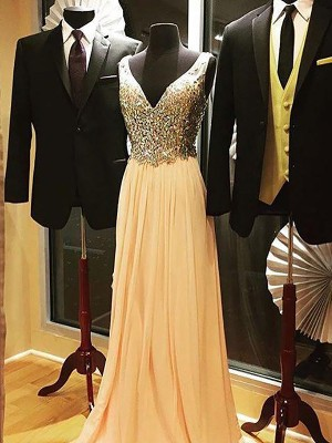 Champagne Chiffon V-neck A-Line/Princess Sweep/Brush Train Dresses