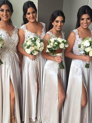 Ivory Silk like Satin V-neck Sheath/Column Floor-Length Bridesmaid Dresses