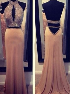 Champagne Chiffon Halter Sheath/Column Sweep/Brush Train Dresses