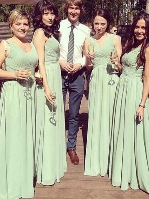 Sage Chiffon V-neck A-Line/Princess Floor-Length Bridesmaid Dresses