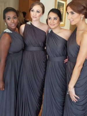 Chocolate Chiffon One-Shoulder Sheath/Column Floor-Length Bridesmaid Dresses
