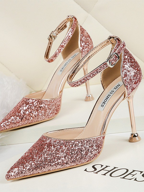 Women Sparkling Glitter Stiletto Heel Closed Toe High Heels