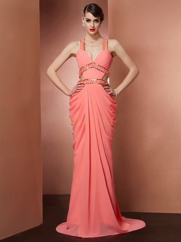 Watermelon Chiffon Halter A-Line/Princess Sweep/Brush Train Dresses