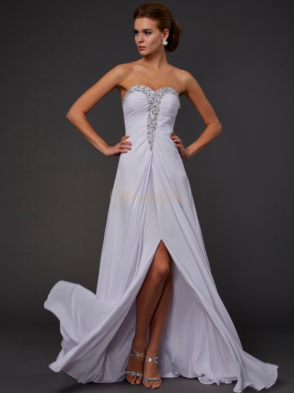 White Chiffon Strapless Sweetheart Sheath/Column Floor-Length Dresses