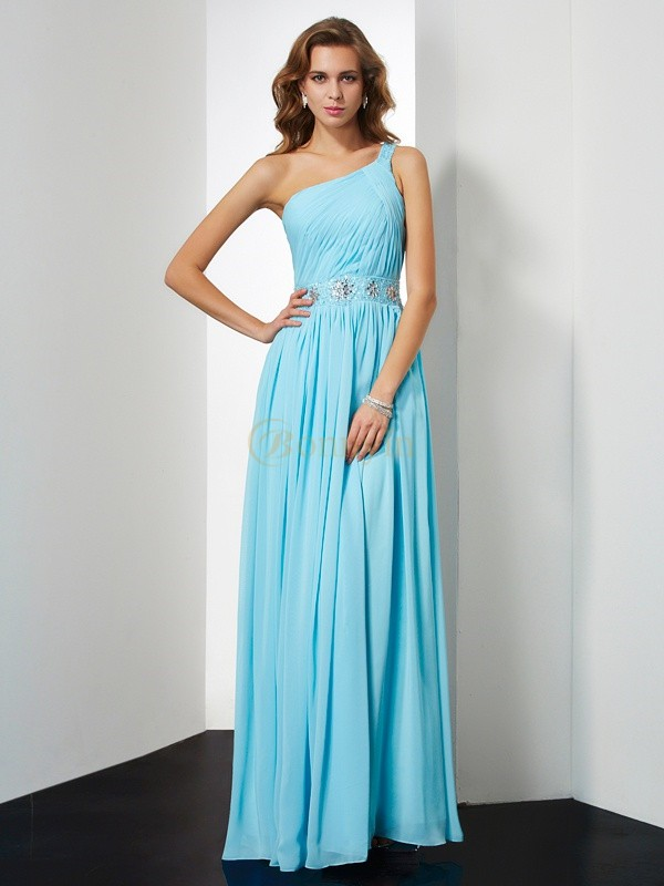 Blue Chiffon One-Shoulder A-Line/Princess Floor-Length Dresses