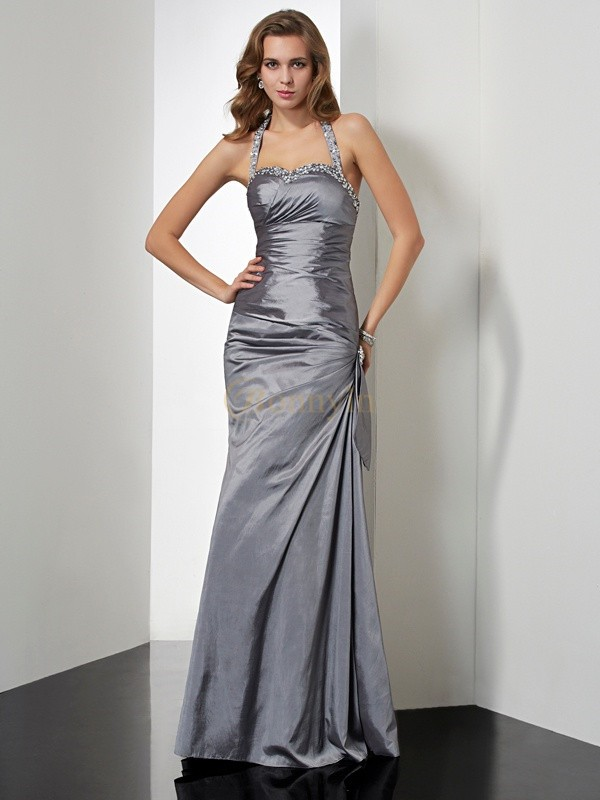 Silver Taffeta Halter Trumpet/Mermaid Floor-Length Dresses