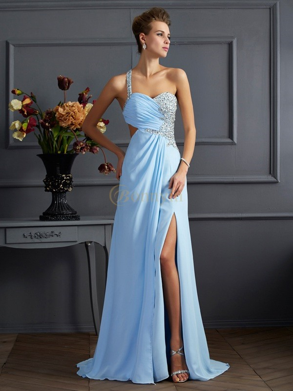 Light Sky Blue Chiffon One-Shoulder Sheath/Column Sweep/Brush Train Dresses