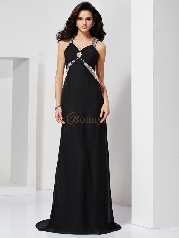 Black Chiffon Straps Sheath/Column Sweep/Brush Train Dresses