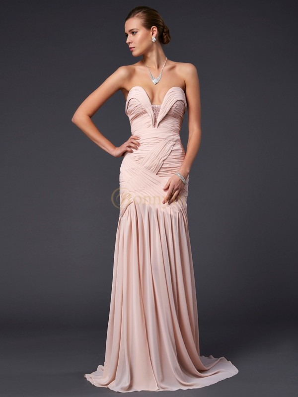 Pearl Pink Chiffon Sweetheart Sheath/Column Sweep/Brush Train Dresses