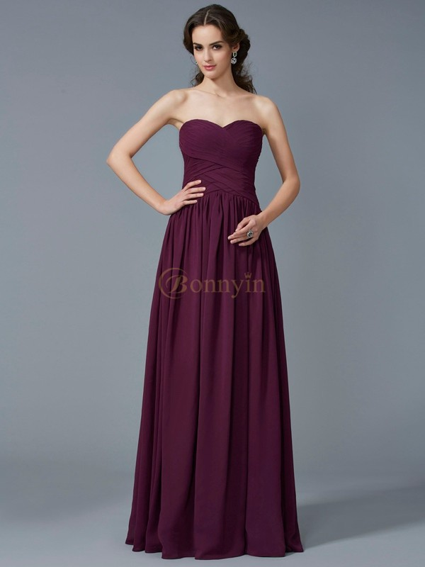 Grape Chiffon Sweetheart A-Line/Princess Floor-Length Dresses