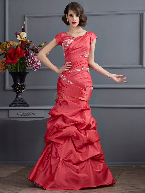 Watermelon Taffeta Scoop Trumpet/Mermaid Floor-Length Dresses