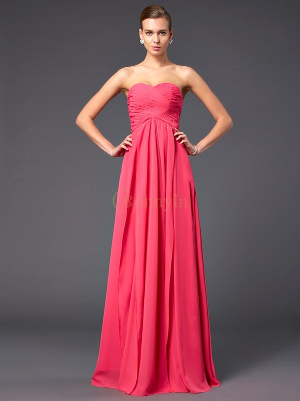 Fuchsia Chiffon Sweetheart Sheath/Column Sweep/Brush Train Dresses
