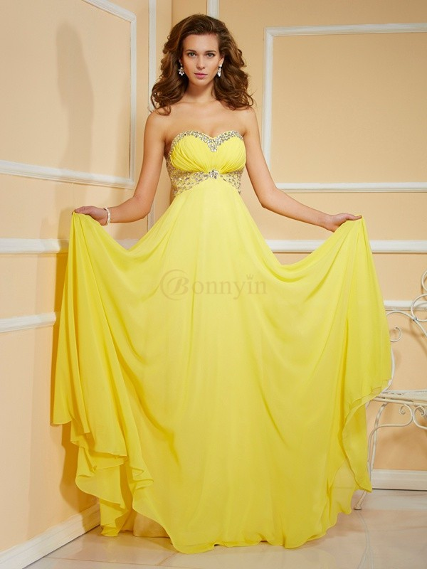 Yellow Chiffon Sweetheart Sheath/Column Floor-Length Dresses