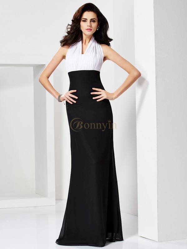 White Black Chiffon Halter Trumpet/Mermaid Floor-Length Dresses