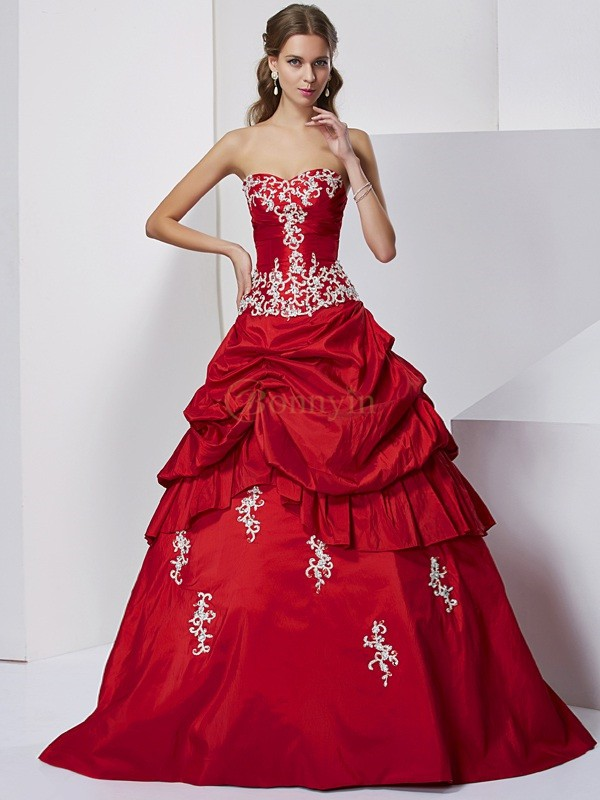 Red Taffeta Sweetheart Ball Gown Floor-Length Formal Dresses