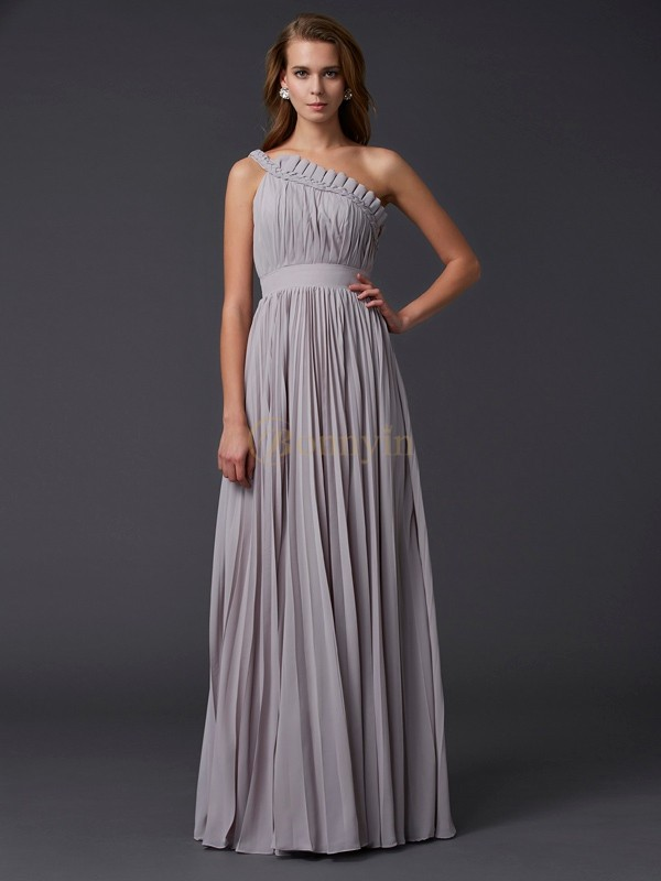 Grey Chiffon One-Shoulder A-Line/Princess Floor-Length Dresses
