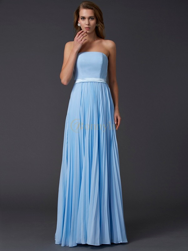 Light Sky Blue Chiffon Strapless A-Line/Princess Floor-Length Dresses