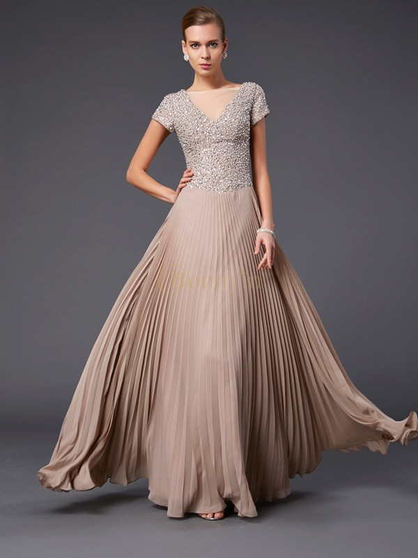 Chiffon V-neck A-Line/Princess Floor-Length Dresses