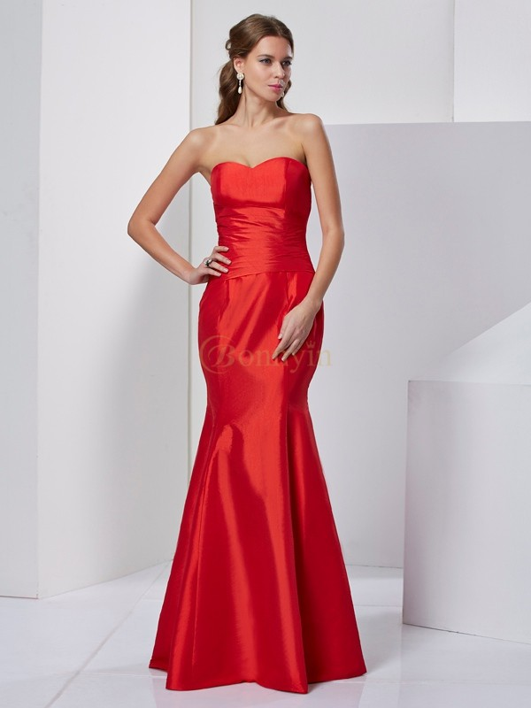 Red Taffeta Sweetheart Trumpet/Mermaid Floor-Length Dresses