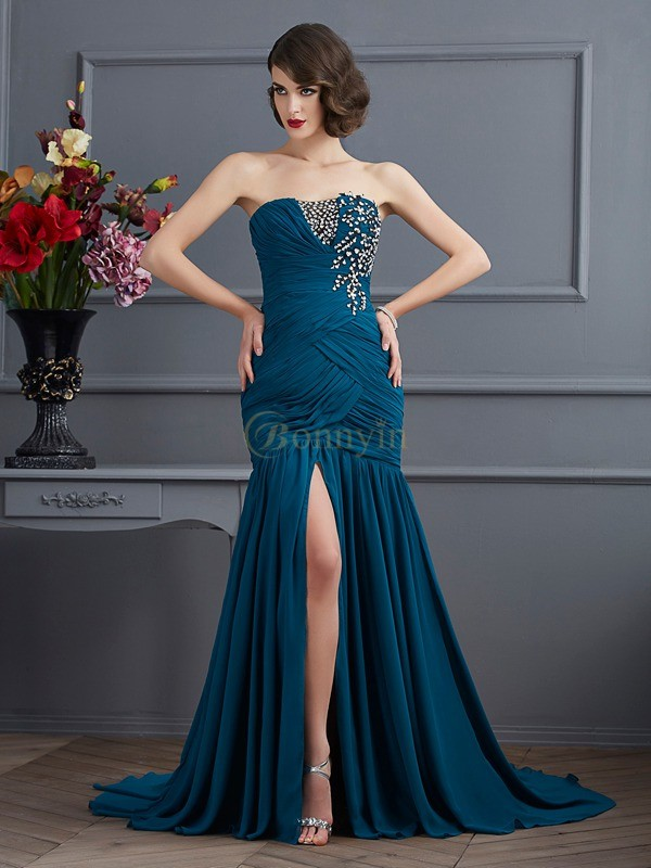 Chiffon Strapless Trumpet/Mermaid Sweep/Brush Train Dresses