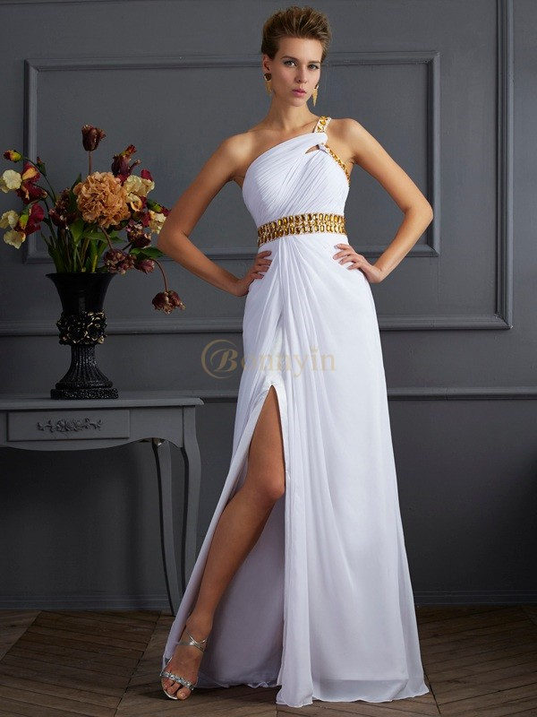 White Chiffon One-Shoulder A-Line/Princess Floor-Length Dresses