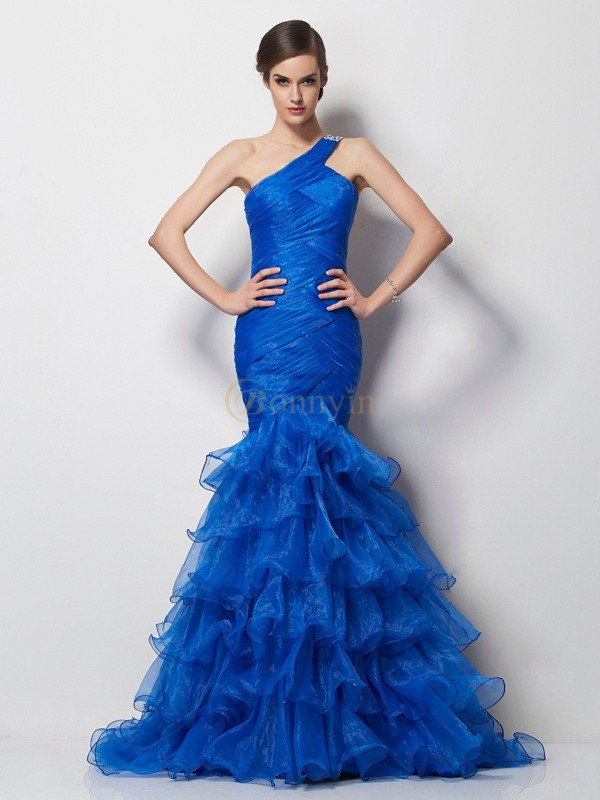Royal Blue Tulle One-Shoulder Trumpet/Mermaid Sweep/Brush Train Dresses