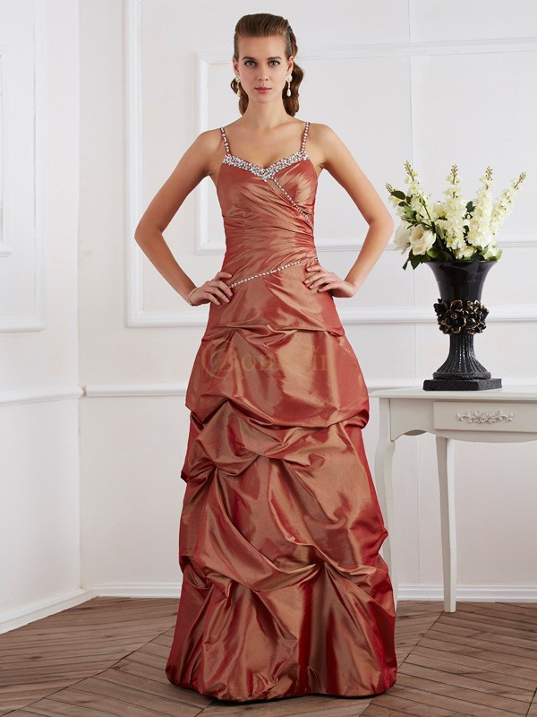 Brown Taffeta Spaghetti Straps Sheath/Column Floor-Length Dresses