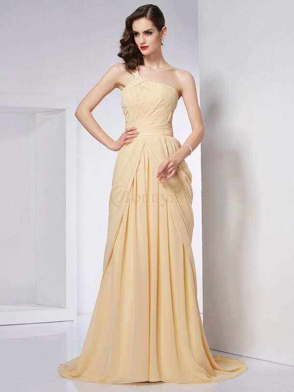 Champagne Chiffon One-Shoulder A-Line/Princess Chapel Train Dresses