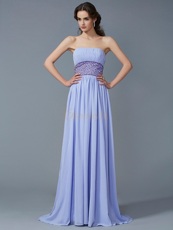 Lilac Chiffon Strapless A-Line/Princess Sweep/Brush Train Dresses