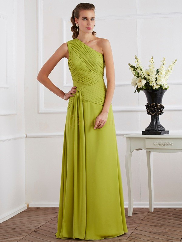 Green Chiffon One-Shoulder A-Line/Princess Floor-Length Dresses