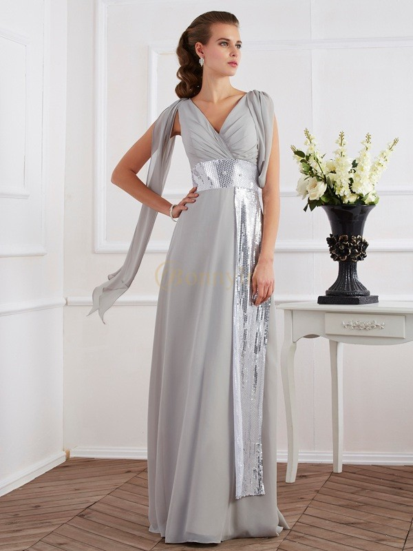 Silver Chiffon V-neck Sheath/Column Floor-Length Dresses