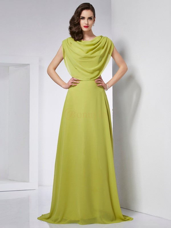 Green Chiffon High Neck A-Line/Princess Sweep/Brush Train Dresses