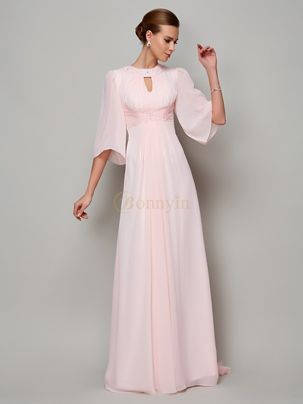 Pearl Pink Chiffon High Neck A-Line/Princess Sweep/Brush Train Dresses