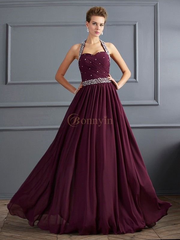 Grape Chiffon Halter Sheath/Column Floor-Length Dresses