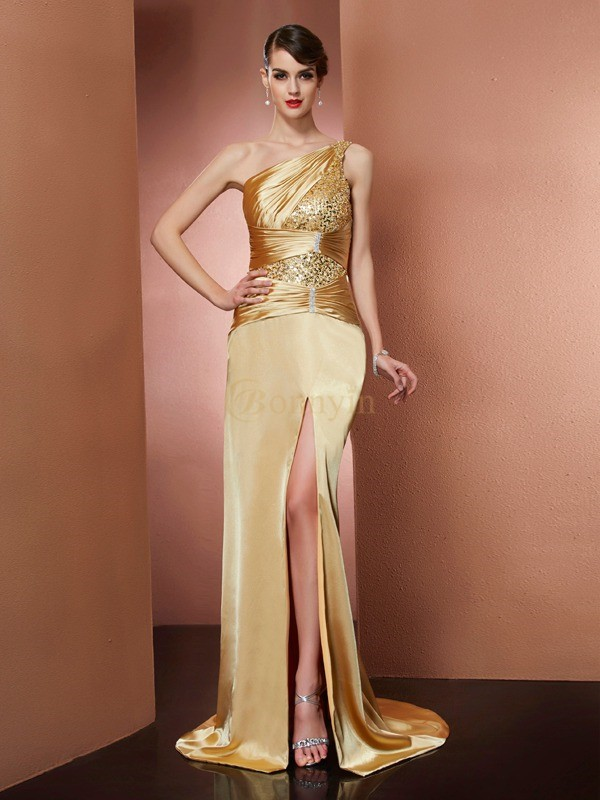Gold Elastic Woven Satin One-Shoulder Sheath/Column Sweep/Brush Train Dresses