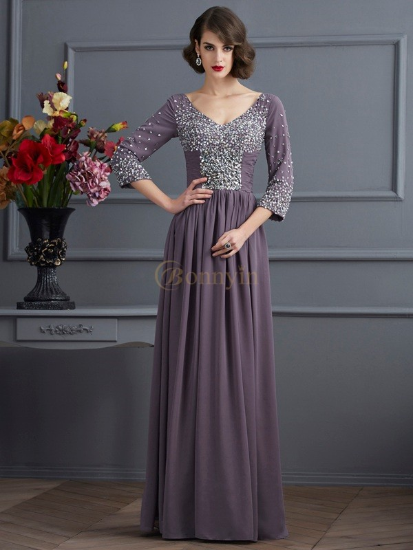 Chiffon V-neck Sheath/Column Floor-Length Dresses