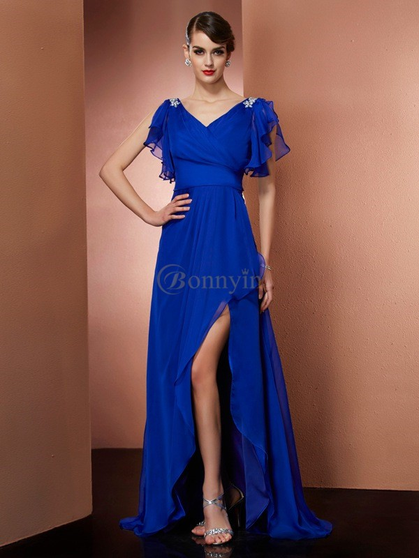 Royal Blue Chiffon V-neck A-Line/Princess Asymmetrical Dresses
