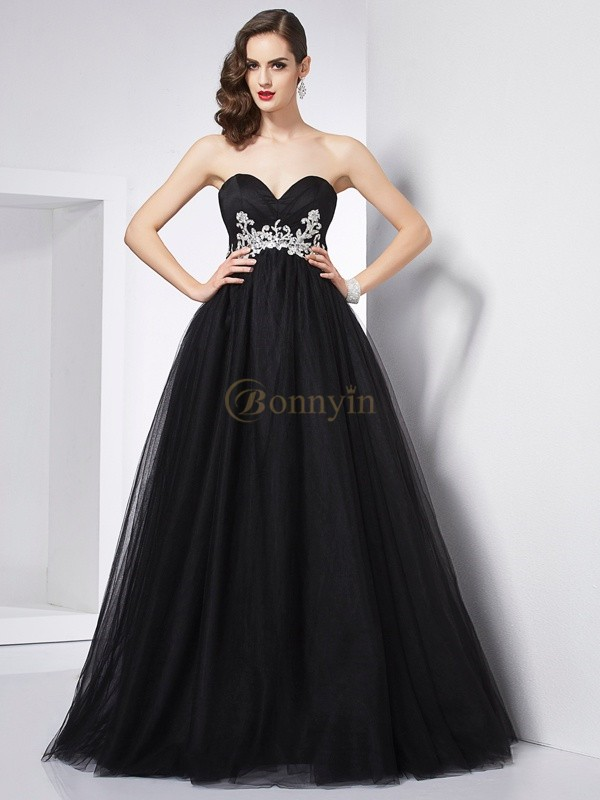 Black Net Sweetheart Ball Gown Floor-Length Dresses