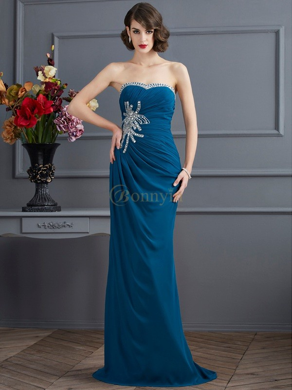 Dark Green Chiffon Sweetheart Sheath/Column Sweep/Brush Train Dresses