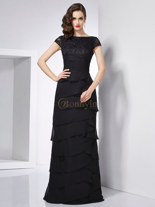 Black Chiffon Scoop Sheath/Column Floor-Length Dresses