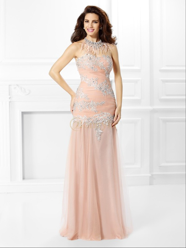 Pink Chiffon Sweetheart Trumpet/Mermaid Floor-Length Dresses