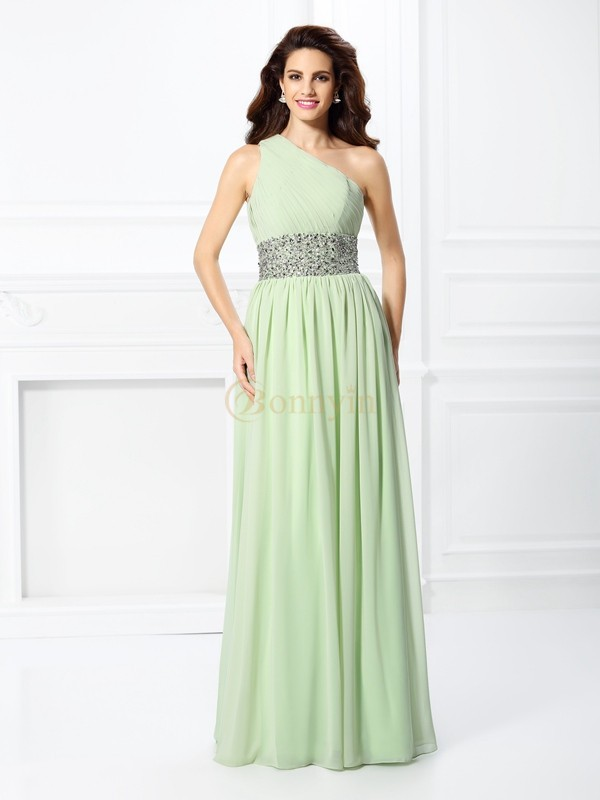 Sage Chiffon One-Shoulder A-Line/Princess Floor-Length Dresses
